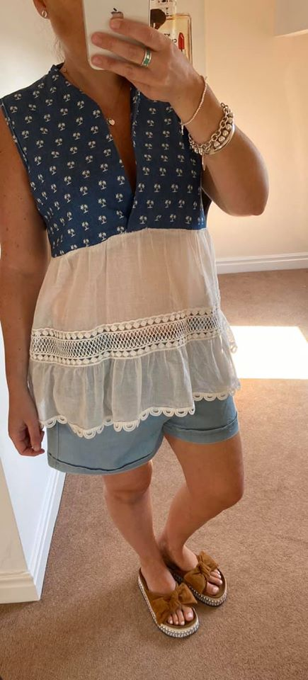 denim and white frill top