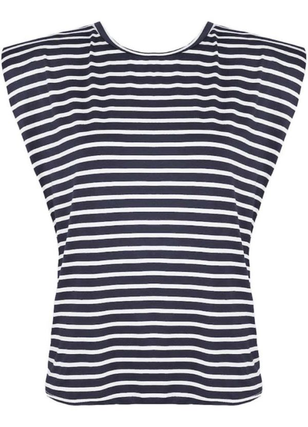 blue stripe t with shoulders